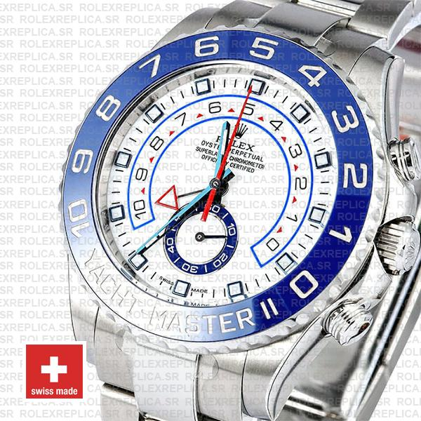 Rolex Oyster Perpetual Yacht-Master II 904L Stainless Steel White Dial 44mm with Blue Ceramic Bezel